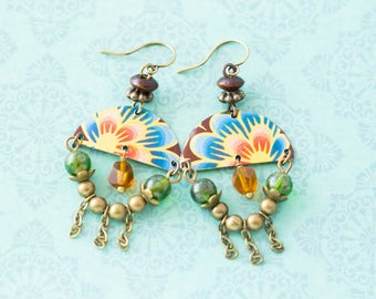 Colorful Half Circle Flower Fringe Earrings with Vintage Tin and Green and Orange Beads, Antique Brass, Tin Jewelry