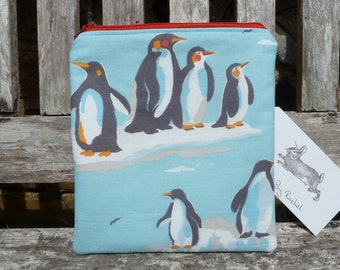 Handmade Penguin Makeup Bag Cath Kidston Rare Fabric Cosmetic Pencil Case Padded Lined