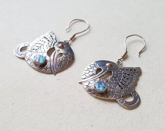 Vintage sterling silver bird earrings - 1990s (F982B)