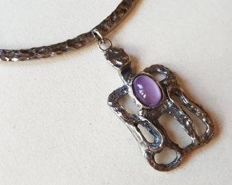Modernist kinetic pewter and glass necklace / collier, 1970s (F1018)