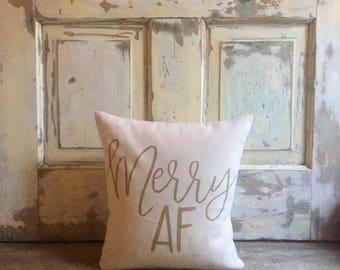 Pillow Cover   Merry AF pillow   Christmas pillow   Christmas decor   Holiday pillow   Holiday Decor   Funny Christmas