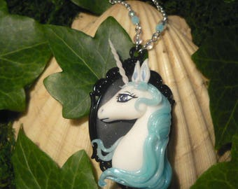 The last Unicorn - handcrafted Necklace with oplescent bohemian Glassbeads