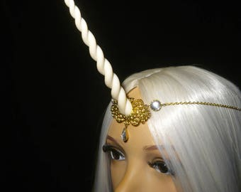 Crystalglow Unicorn  - Tiara with handsculpted white Horn