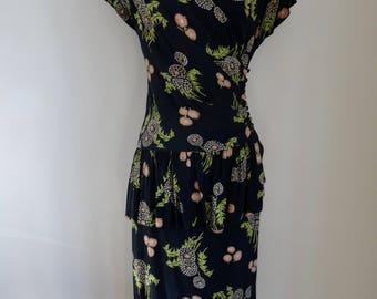 40's Rayon Dress Peplum Joan Crawford Black Floral Wrap Dress