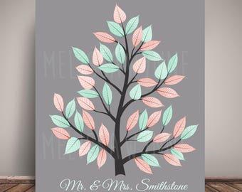 Wedding Tree Guest Book Alternative - Guest Book Poster, Premium Fine Art Print -Leaf Sign-in