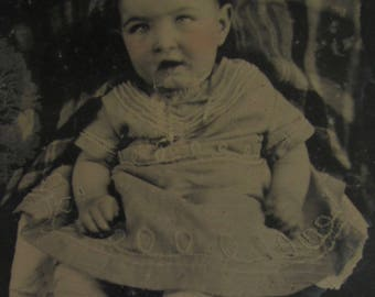 Shear Innocence - Original 1870's Cute Little Rosie Cheeked Baby Tintype Photograph - Free Shipping