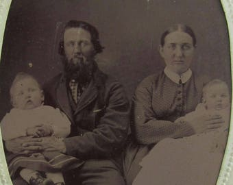 Original 1870's Bearded Man and His Young Family Tintype Photograph - Free Shipping