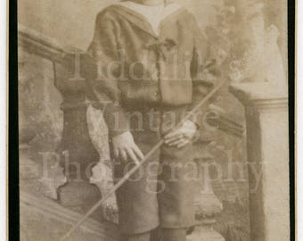 CDV Carte de Visite Photo Victorian Young Cute Little Boy Sailors Outfit Toy Fishing Net Portrait - Bromley Kent England Antique Photograph