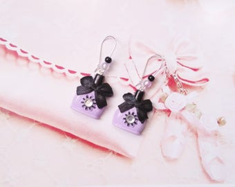 earrings sweet nail polish purple polymer clay