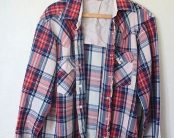 vintage red blue plaid western lumberjack flannel button up shirt *