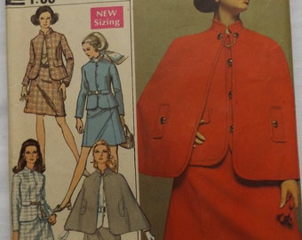 Designer Fashion Misses' Suit and Cape with A-Line Skirt and Lined Jacket in Size 16 Complete Vintage 60s Simplicity Sewing Pattern 8037