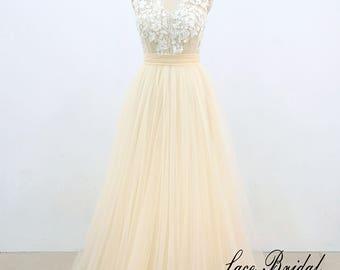 Tulle Wedding Dress Light Yellow V Neck Ivory