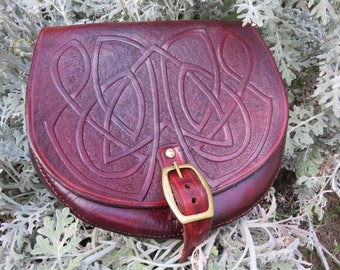 BELT POUCH - Leather Sporran Bag Celtic Knot Embossed Brown Viking LARP Medieval