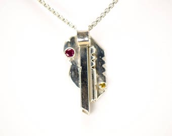 Ruby and Citrine Pendant - Sterling Silver - Natural Gemstones - Shining Opus Designs
