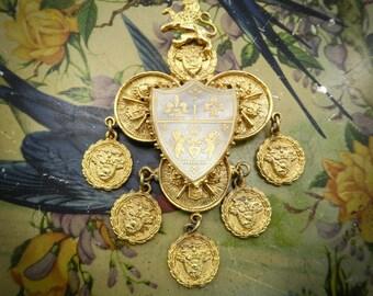 Vintage BSK Brooch, Heraldic, Signed