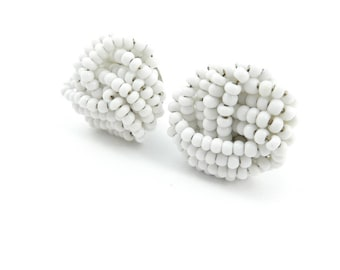 Vintage White Cluster Earrings, Glass Seed Beads, Clip Ons