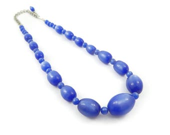 Vintage Blue Necklace, Lucite Bead, Moonglow