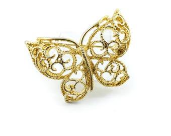 Vintage Butterfly Brooch, Filigree, Gold Tone