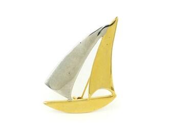 Vintage, Sailboat Brooch, Silver Gold Tone