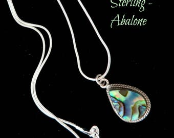 Sterling Silver Abalone Pendant | Vintage Teardrop Pendant Necklace