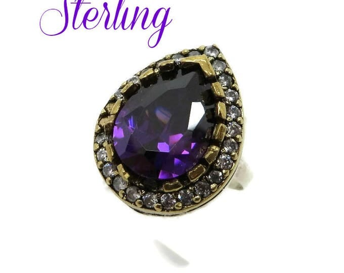 Sterling Silver Amethyst Ring- Vintage Faux Amethyst and Topaz Cocktail Ring, Size 7, Gift Box, Perfect Gift, FREE SHIPPING