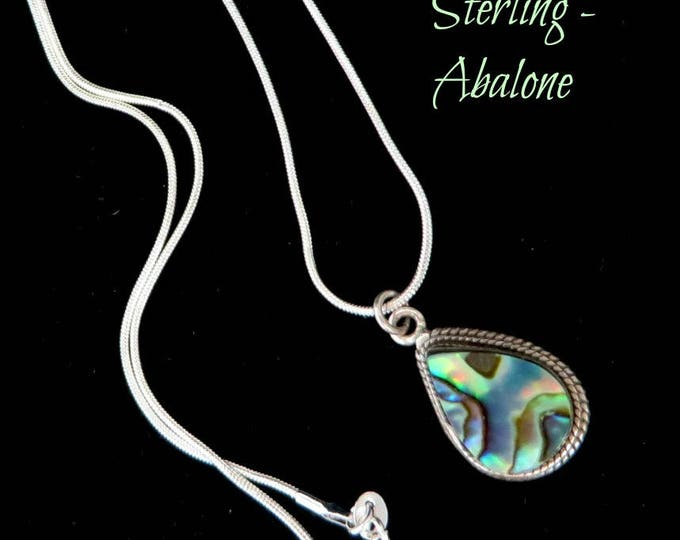Sterling Silver Abalone Pendant | Vintage Teardrop Pendant Necklace