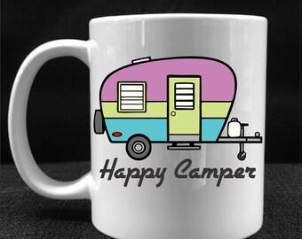 MUG, COFFEE CUP, Happy Camper, Drinkware, Gift