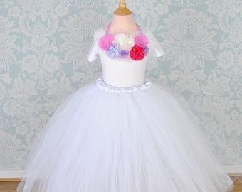 Tutu, Girls Tutu, Flower Girl Tutu, Girls Tulle, Flower Girl Dress, White Tutu, Girls Long Tutu, Baby Tutu, Wedding Tutu, Bridesmaid Tutu