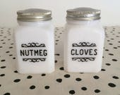 Vintage Nutmeg and Cloves Spice Containers, Milk Glass Spice Jars, Spice Shakers, Black Scroll Shakers, 1950s Spice Shakers Black Lettering
