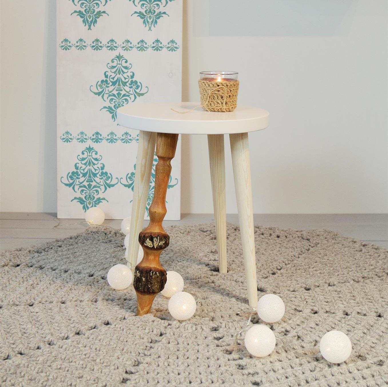Round Side Table Stool Nightstand Small Table End Table