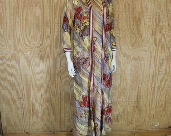 Vintage 1970's BERKSHIRE Nylon Poppy Print Metallic Duster Maxi Dress Medium M