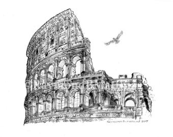 Colosseum Rome Italy pen and ink pencil drawing illustration fine art print matted