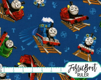 THOMAS THE TRAIN Fabric by the Yard, Half Yard, Fat Quarter Train Toss Blue Red Thomas the Tank Engine Fabric 100% Cotton Quilt Fabric t6-24