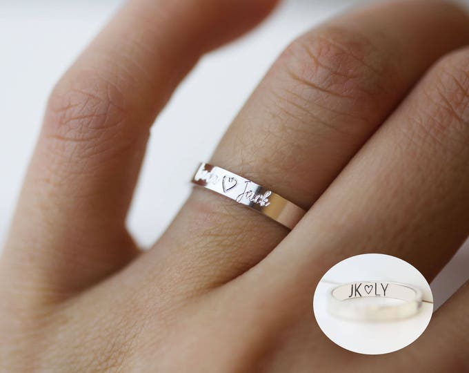 Personalized ring, ring with custom engraving on the outside and inside, Sterling silver ring, handwriting ring, wedding ring,E&E PROJECT