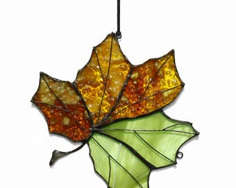 Genuine Stained Glass Art Suncatcher Maple Leaf Handmade Home decor Gift