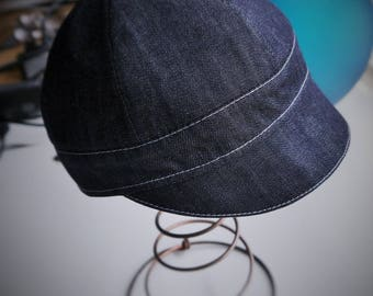 mixed soft Cap lined in denim Navy t.52/54 cm