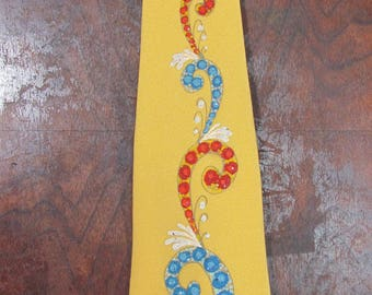 1950s Vintage Tie Yellow Hand Painted