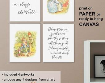 Peter Rabbit Baby Nursery Art, Peter Rabbit Quote Prints, Peter Rabbit Playroom, Beatrix Potter Nursery Prints, Peter Rabbit Nursery Decor