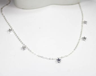 Station  star necklace .Silver 5 mini star necklace.Layering Choker Necklace,Star Necklace, Stars Jewelry. multi star necklace station star