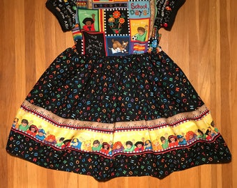 "Back to School Preschool Kindergarten ""My Dog Ate My Homework!"" Girls Black Dress 1st Day of School Size 5"