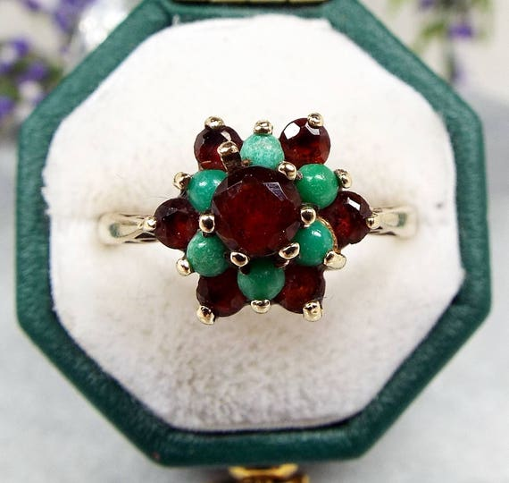 Vintage 1969 9ct Yellow Gold Red Garnet and Turquoise Cluster Ring / Size L