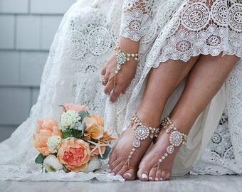 starla barefoot sandals beach wedding jewelry foot jewelry bohemian wedding sandals anklet foot thong rhinestone sandals