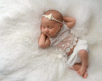 Newborn Lace Outfit, Newborn Photo Prop, Baby Girl top & panties, Ivory, Newborn Panties, Newborn Props, Baby Picture Prop, New Born Prop