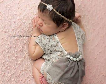 Lace Romper, Newborn Photo Prop, Baby Girl Outfit, Newborn Romper Prop, Photo Outfit, Sage, Baby Photo Prop, Newborn Prop, Photography, 013