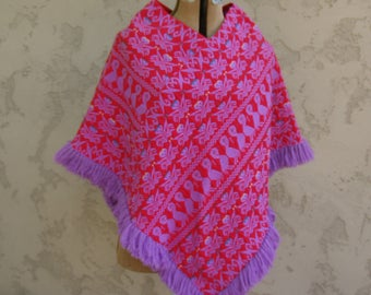 Vintage Red and Purple Bright Guatemalan Poncho with Fringe and Bird Motif