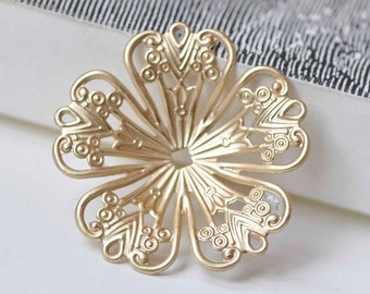 10 pcs Matte Gold Five Petal Large Filigree Flower Bead Cap Embellishments 32mm A8927