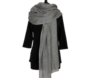 MERINO WOOL with CASHMERE Scarf  - Mid Grey and White