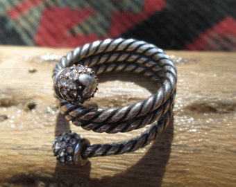 Sterling and Marcasite Rope Ring Size 7.25