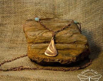 Art Deco Copper Pendant Necklace