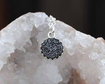 Black Druzy Necklace, Sterling Silver Druzy Necklace, Black Druzy Jewelry